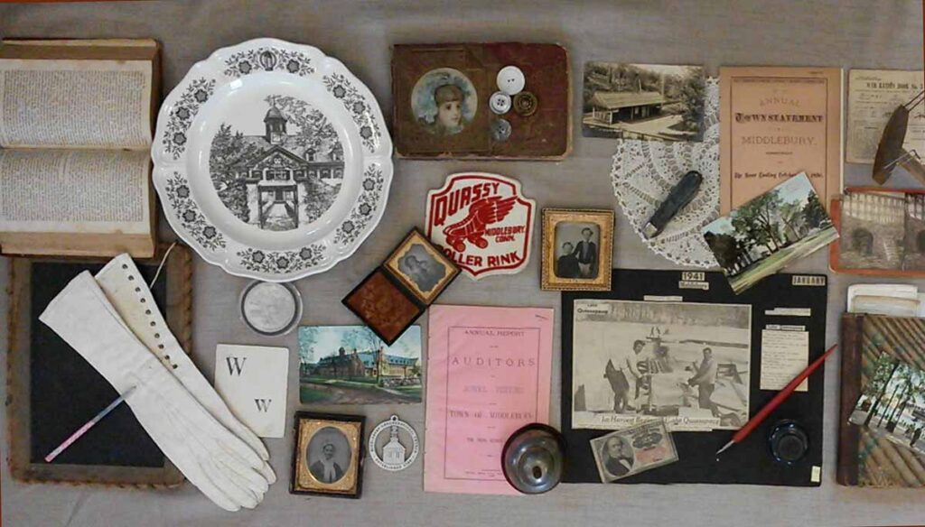 Our collection consists of scrapbooks, booklets, photos, souvenirs, personal items and virtually anything that relates to Middlebury's history